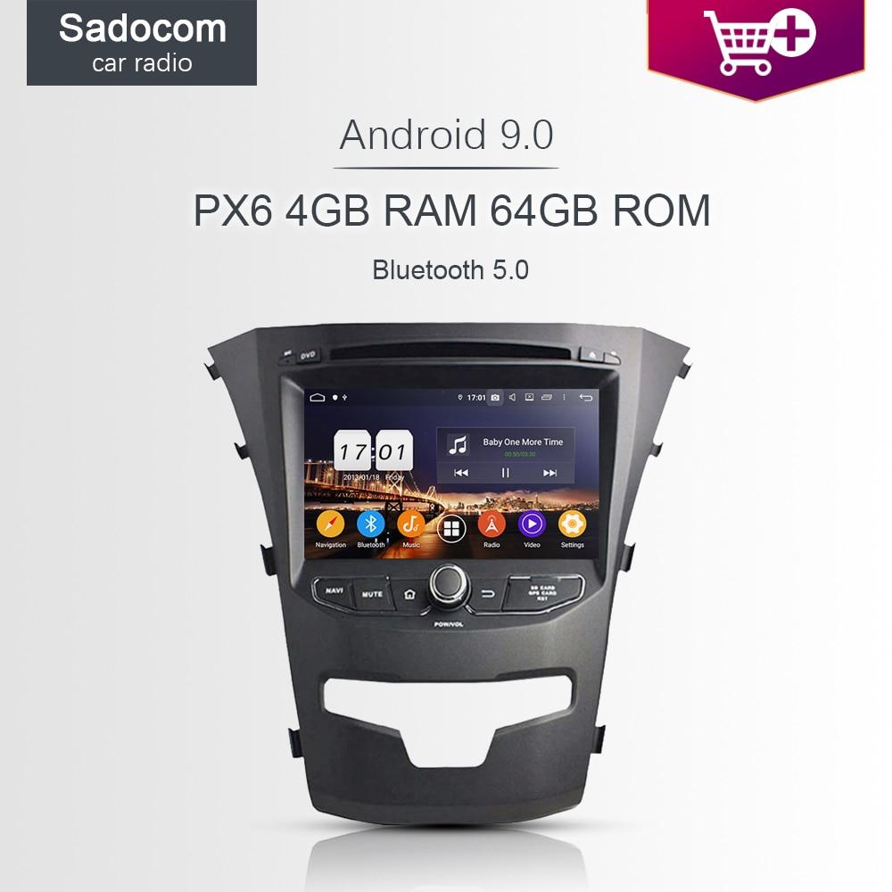 DSP PX6 TDA7851 2 din Android 9,0 para SsangYong Korando 2014 4GB de RAM 64GB coche reproductor de DVD Bluetooth autoradio sintonizador GPS Glonass