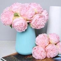 5 heads artificial flowers peony bouquet for wedding decoration peonies fake flowers silk hydrangeas wedding home decor