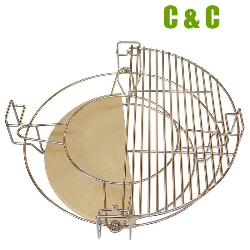 Sistema de cocina de alta calidad, dividido y conchado, de 16 pulgadas, redondo Kamado BBQ Kamado, accesorios para parrilla