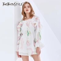 twotwinstyle print playsuits for women square collar ruffled long sleeve high waist lace up hit color pants female 2021 clothing