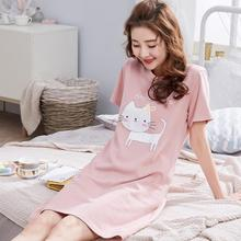 Short-sleeved Women's Sleepwear Imitation Silk Night Gowns Summer Cartoon Nightgowns Home Wear Girls