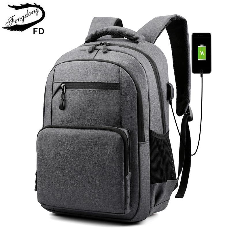 Fengdong waterproof school backpack for teenagers boy usb charge bagpack male bags college student b