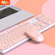 Draadloze Toetsenbord Muis Combo Set Ergonomische 2.4G Mute Toetsenbord En Muis Voor Notebook Laptop Mac Desktop Pc Office Roze toetsenbord