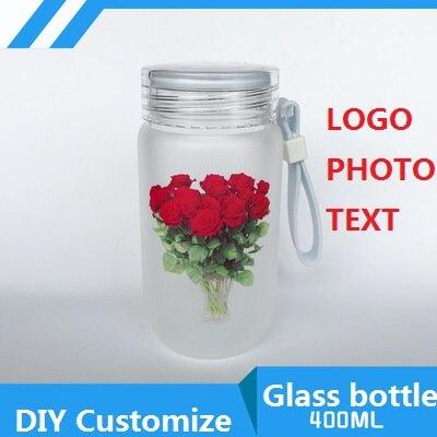 400ML botella de vidrio DIY personalizar LOGO foto fotos