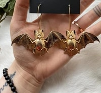 bat earrings necklace goth witchy dark vampire spooky silvergold plated gothic long jewelry unique gift