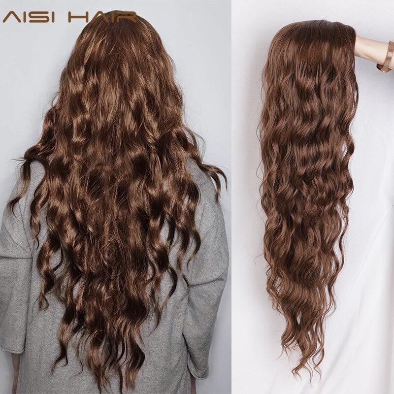 Pelucas negras onduladas de pelo largo AISI peluca sintética con ondas marrón y roja para mujeres pelo Natural medio resistente al calor