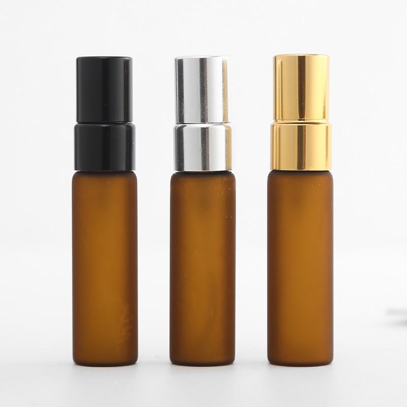 Venta al por mayor 5ML botella de Perfume de vidrio ámbar aerosol recargable Mini muestra portátil atomizador para botella de Perfume cosmético Contaier