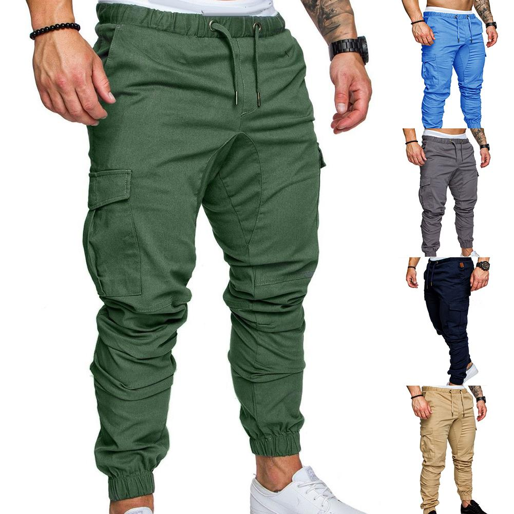 New Casual Joggers Pants Cargo Solid Color Men Cotton Elastic Long Trousers Military 2021 Pants Men