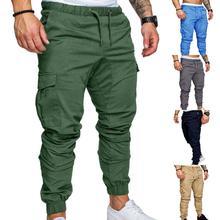 New Casual Joggers Pants Cargo Solid Color Men Cotton Elastic Long Trousers Military 2021 Pants Men Leggings