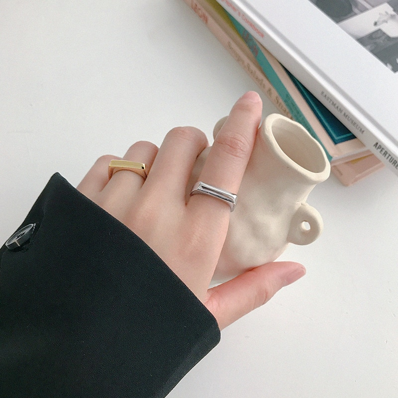 925 Sterling Silver Geometry INS Simple Ring Female Fashion Design Rectangular Hollow Flat Open Jewelry Wedding Rings