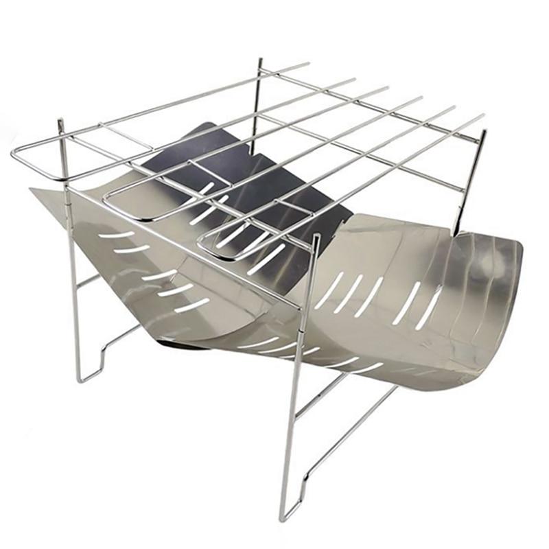 Fogão de acampamento 2-em-1 portátil dobrável aço inoxidável churrasqueira acampamento ao ar livre fogão a lenha