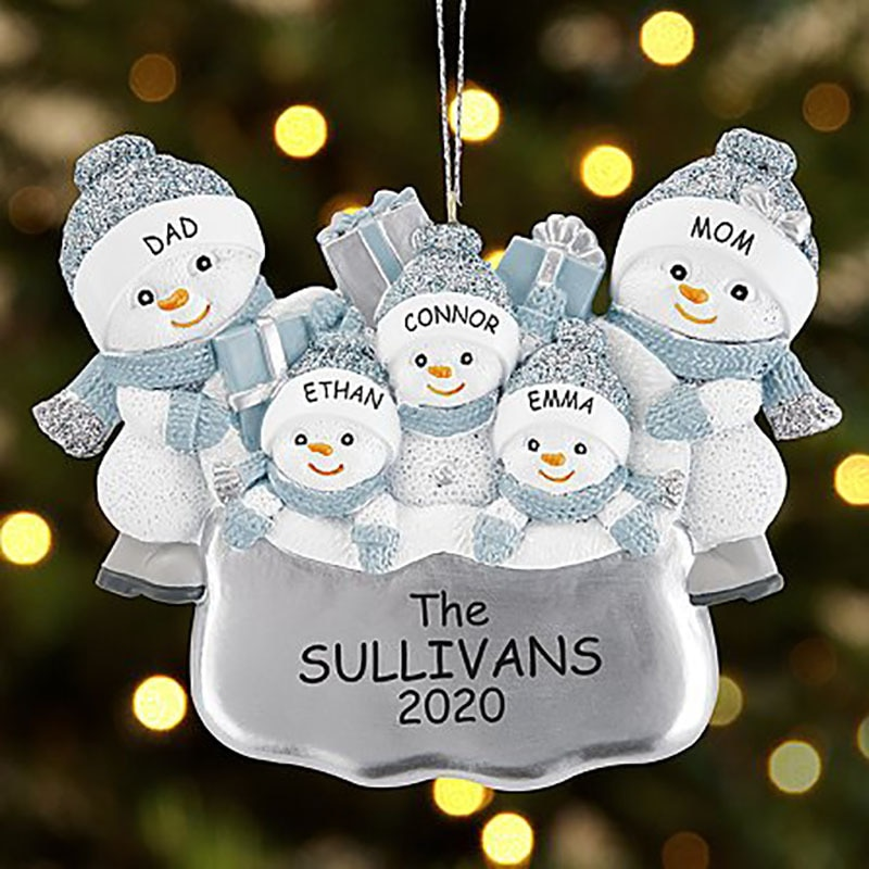 Happy Family Snowman DIY Name Blessings Christmas Tree Hanging Pendant Christmas Decoration Drop Ornament Party Home Decor hot christmas tree decoration ball metal decoration home christmas ornament decoration christmas party party hanging ball ornament