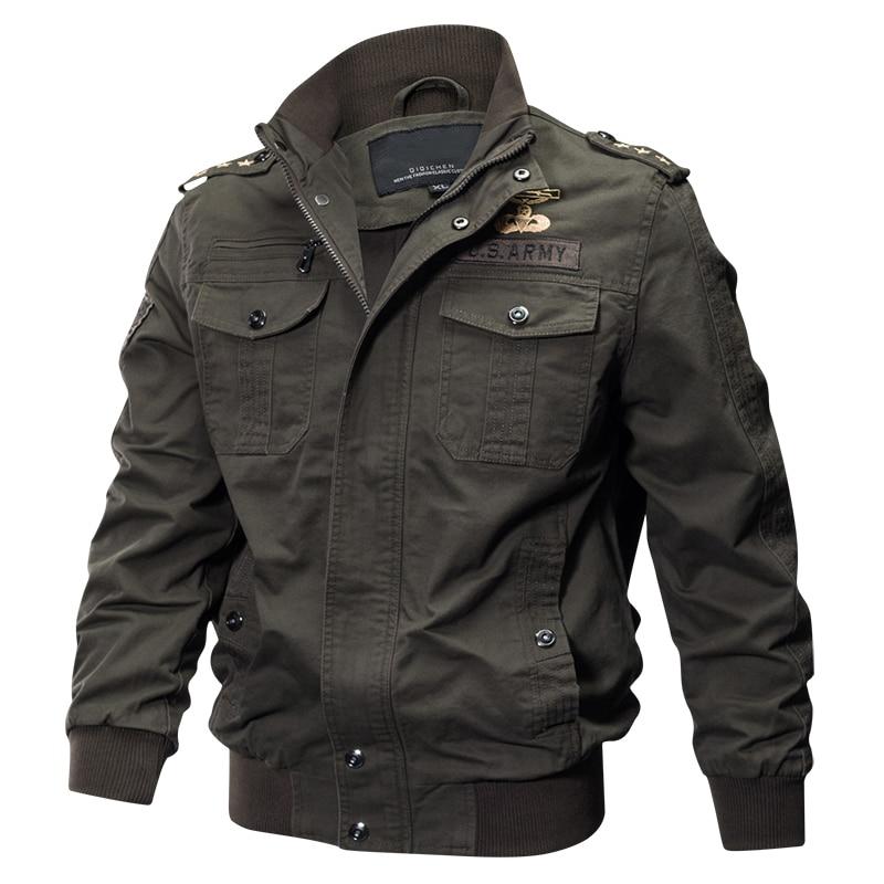 Бомбер мужской в стиле милитари, повседневная куртка-пилот с несколькими карманами, армейский пилот-карго, весна-осень