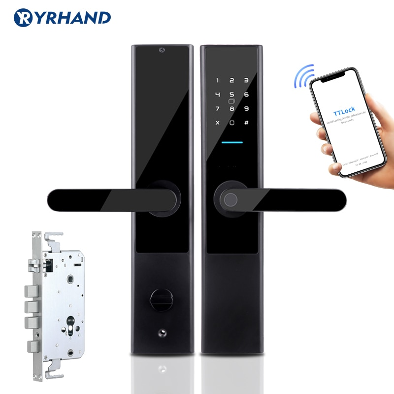Promo TTlock App Electronic Security Smart Bluetooth App WiFi Digital Code IC Card Biometric Fingerprint Door Lock for Home