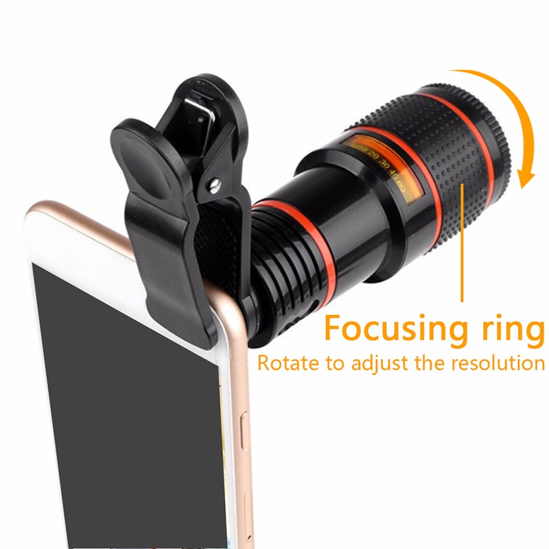 outdoor Camping gadget universal 12 times mobile phone telephoto telescope head HD external camera l