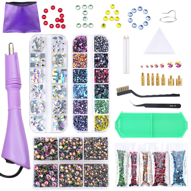professional vaccum hot fix applicator with 3 tips suit for all stone size 120v 220v hot fix machine for hot fix rhinestones Hot Fix Rhinestones Set Iron On Glass Crystal EU/US PLUG Hotfix Applicator Strass Hot Fix Rhinestone For Accessories Decorations