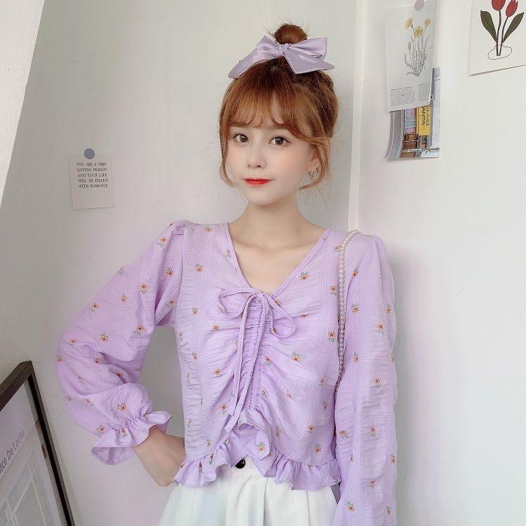 Small Floral Drawstring White Long-Sleeved Women's Autumn New Korean Style V-Neck Loose Short Upper Garment