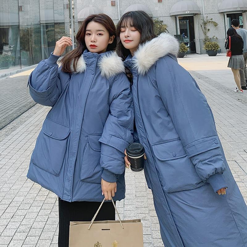 2019 invierno chaqueta de plumón de estilo medio con cuello de pelo pesado chaqueta acolchada de algodón para estudiantes abrigo holgado de algodón de ocio