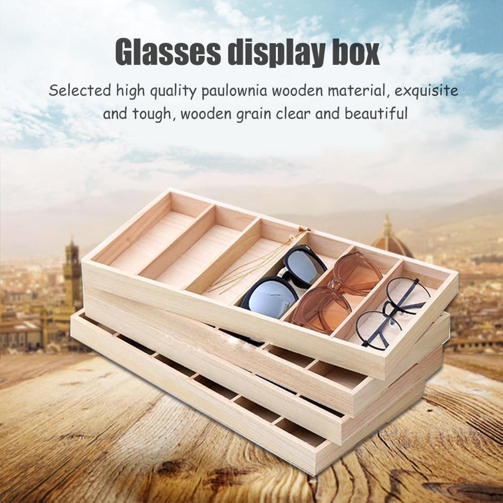 6 compartiments lunettes affichage organisateur lunettes afficheur de bureau boîte de support lunettes de soleil mallette de rangement personnalisé en bois bijoux plateau