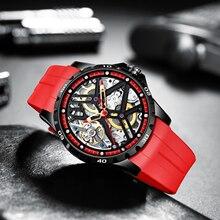 AILANG Original Automatic Hollow-out Mechanical Watch Men Double Silicone Watch Luminous Waterproof