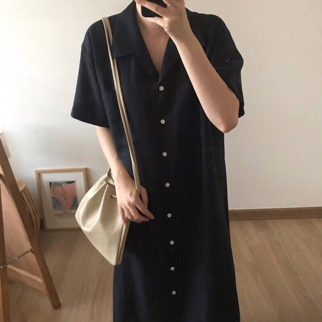 black v neck long sleeves casual sweaters with side pockets Women's V-neck short sleeves with buttons and pockets Pure color cotton and linen series casual loose long skirt