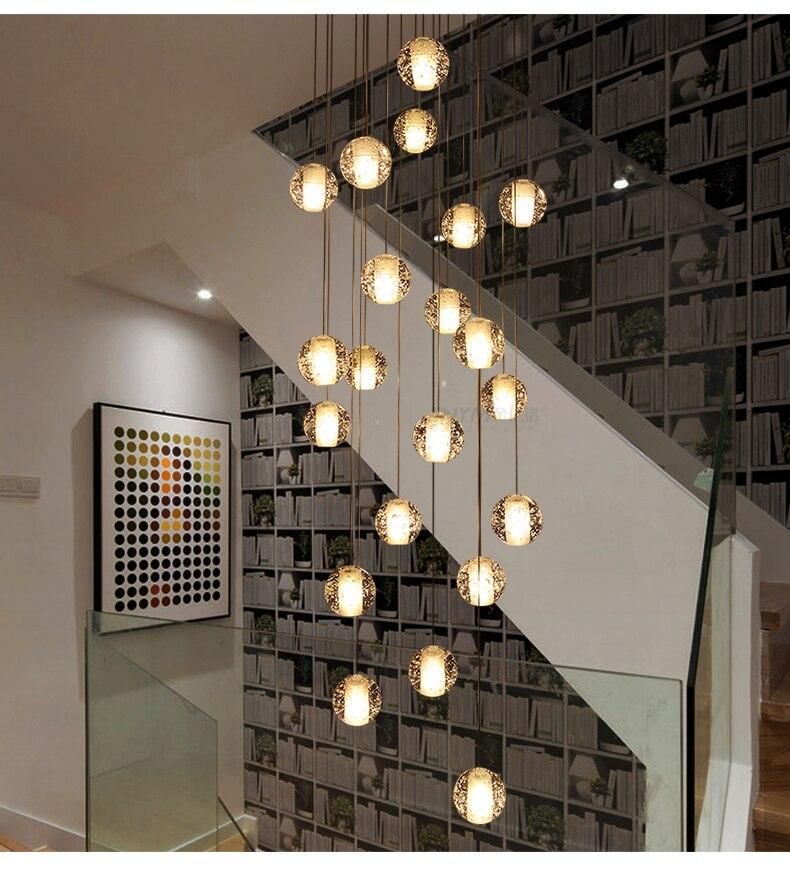 14 cabeças de cristal lustre 10cm bolas de vidro led lâmpada pingente de cristal luxo pendurado escada interior do corredor escadas lâmpada