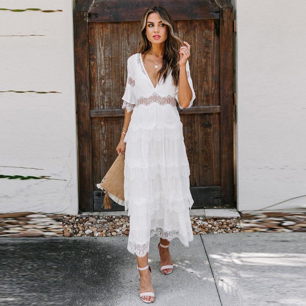 Long Dress Women Maxi Vestidos White V Neck Half Sleeve Boho Vacation Sexy Club Party Night Loose Pr