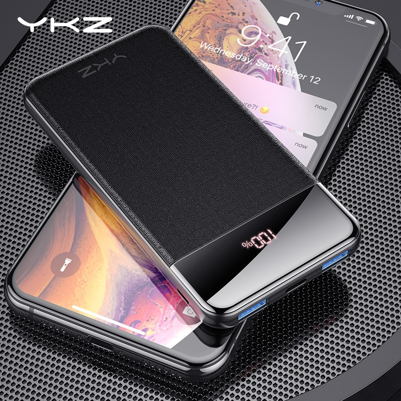 Ykz display led 10000 mah banco de potência magro pd qc3.0 carregamento rápido powerbank para iphone xiaomi bateria móvel externo portátil