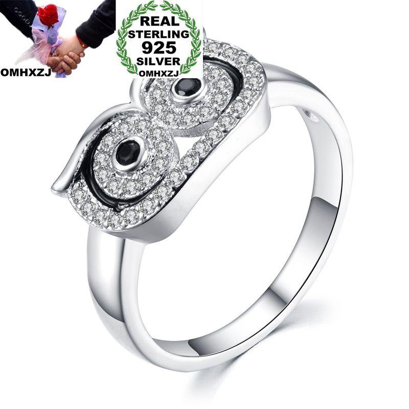 OMHXZJ vente en gros mode européenne femme homme fête cadeau de mariage argent noir blanc hibou AAA Zircon Taiyin anneau RR316