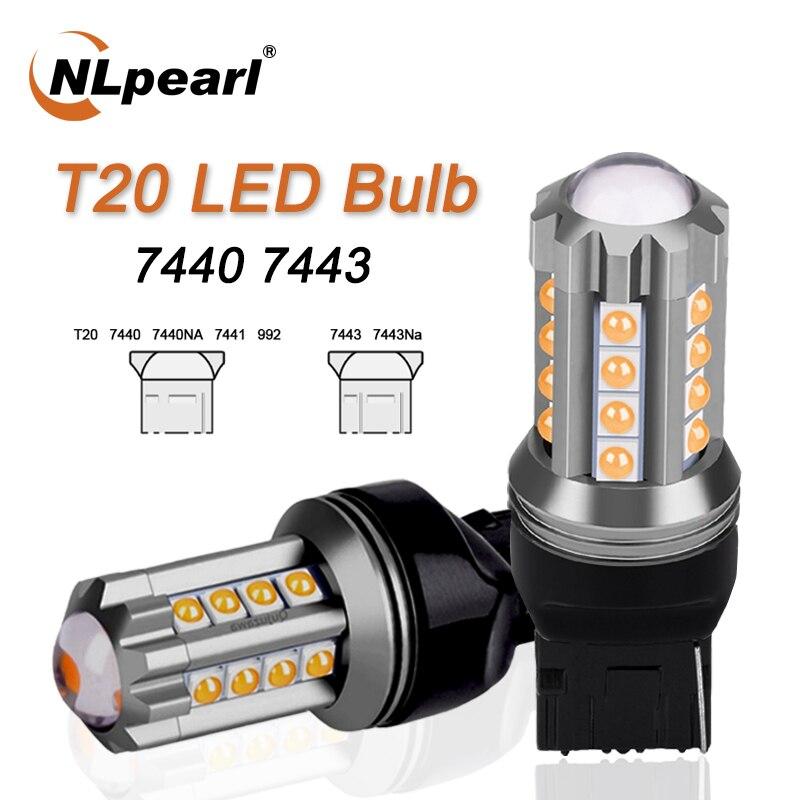 NLpeal 1x lámpara de señal T20 bombilla LED 7440 WY21W W21W Led Canbus luz intermitente trasero 7443 LED W21/5W 3030SMD luces de freno 12V