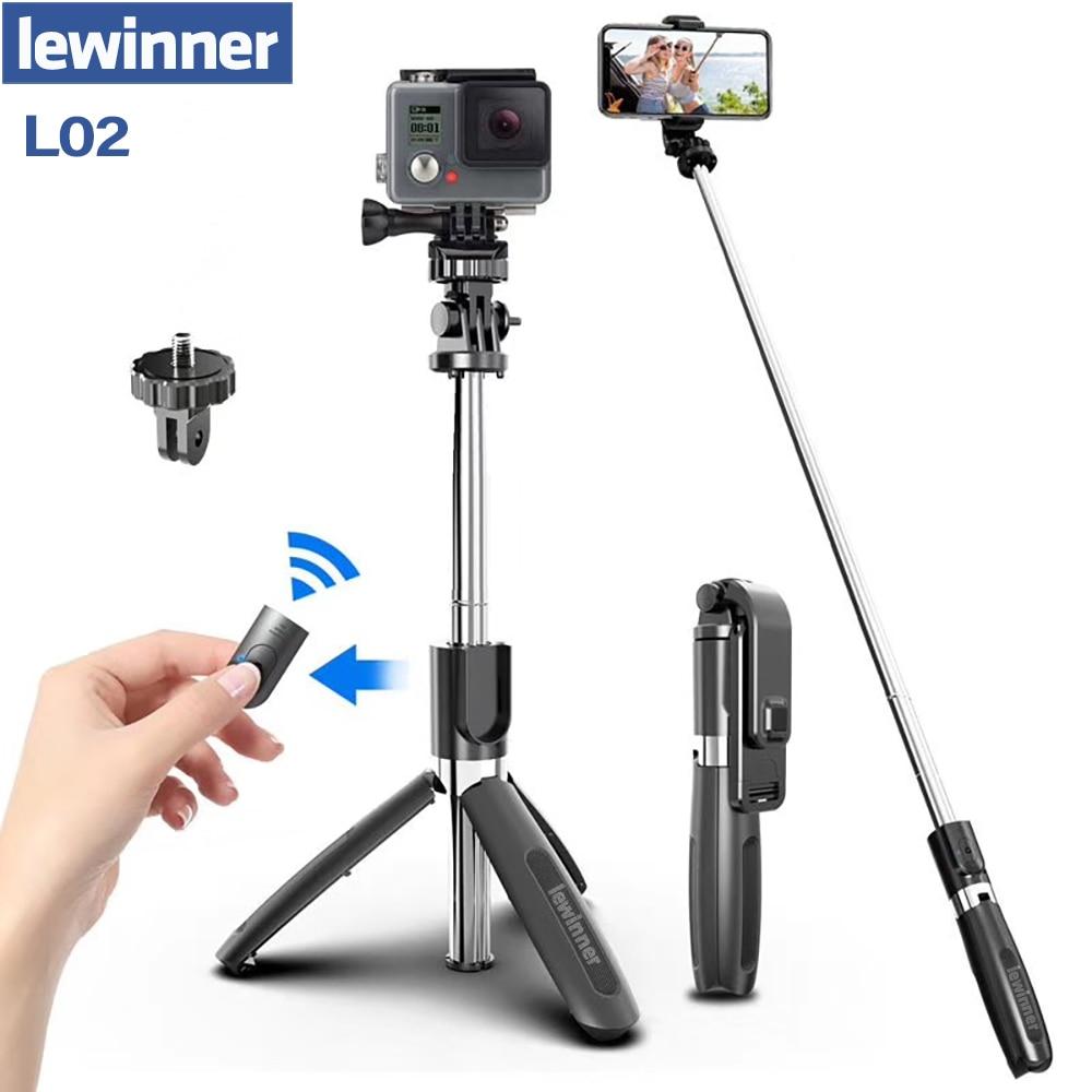 Lewinner Wireless Bluetooth Selfie Stick Tripod Foldable Tripod Monopod Universal for SmartPhones for Gopro Sports Action Camera