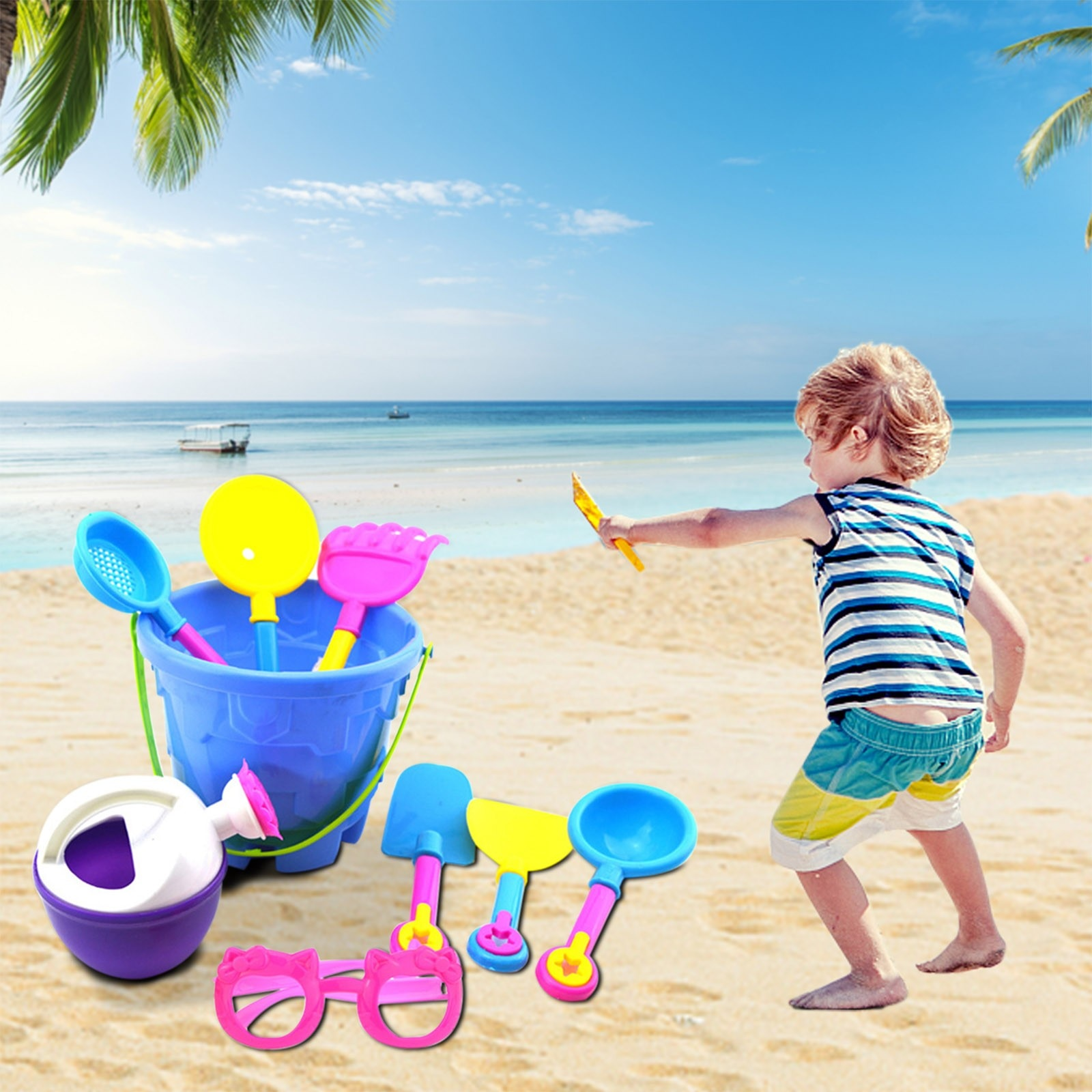 9 Piece Beach Toy Sand Set Bucket Sand Shovel Digging Sand Play Sandpit Toy For Kids Summer Outdoor Beach Gardening Toys Gift #5 starry sky sand beach toy 18 piece sand set magic space clay sand puzzle power toys