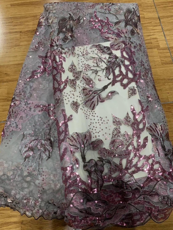 Tela de encaje africano de alta calidad 2020 último encaje 5 yardas tela nigeriana hermoso lazo para vestido de mujer vestido de fiesta