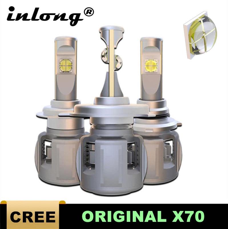 Inlong LED Faro de coche Original X70 H7 LED H4 D4S H1 H8 D2S H11 9005 D3S 9006 HB4 HB3 D1S bombilla de faro delantero de coche 6000K luces de niebla