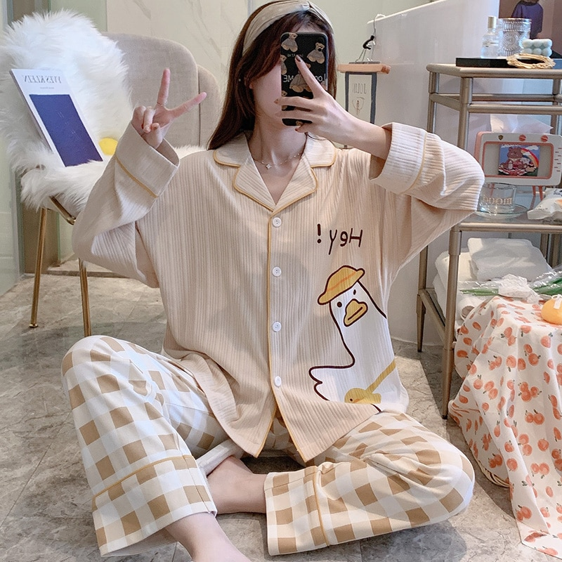 pijamas-de-manga-larga-para-mujer-cardigan-con-pantalones-a-cuadros-traje-de-algodon-de-ganso-blanco-ropa-de-casa-informal-coreana-fina