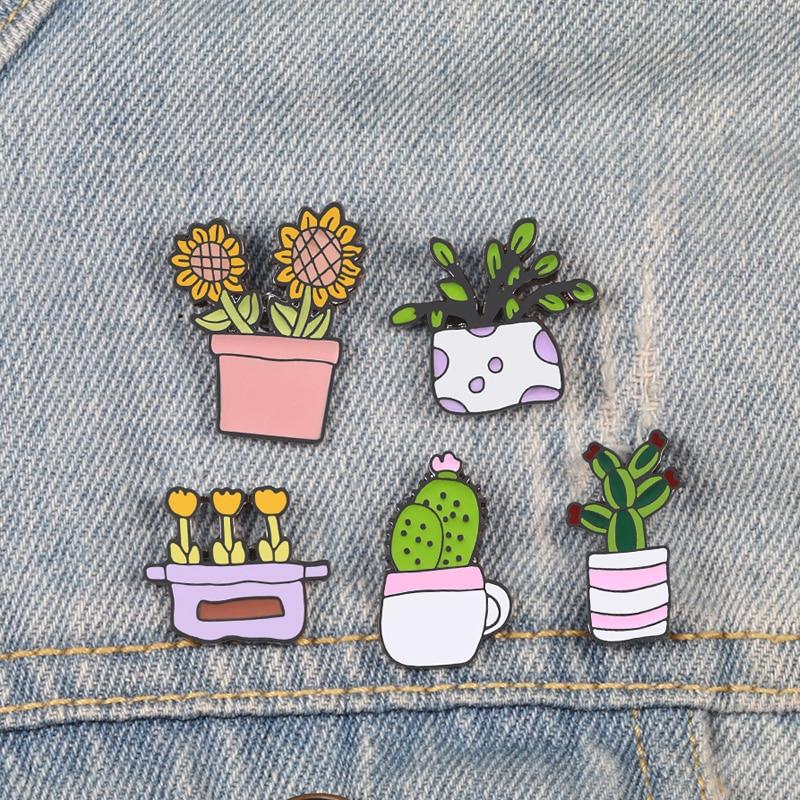 Alfileres de plantas en maceta broches de girasol insignias para mujer niña Cactus flores solapa alfileres camisa broche de Catoon regalo de joyería Natural