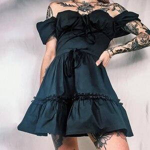 Платья для женщин в африканском стиле 2000s Egirl Красный Клетчатый мини-платье в готическом стиле, с буффами на рукавах с высокой талией Винтаж плиссированное платье трапециевидной формы для девочек; Мини-платье