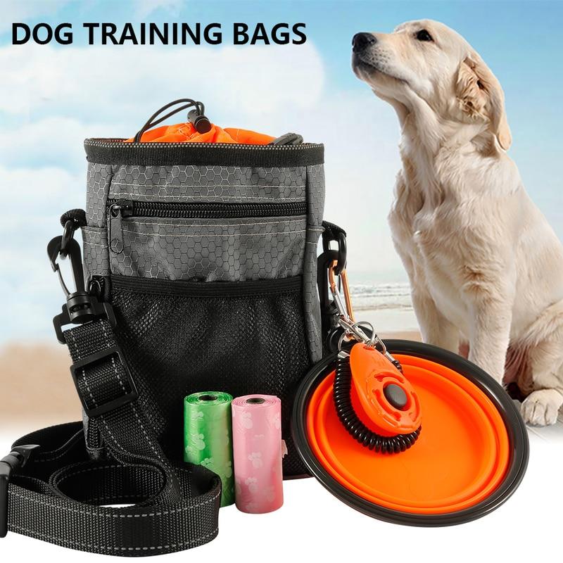 Multi-função saco de treinamento do cão portátil pet ao ar livre tratar sacos suporte de alimentos cinto ajustável saco de lixo dobrável tigela kit