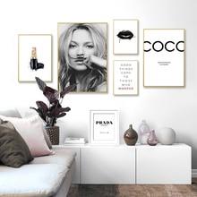 Toile de maquillage de Salon mode moderne   Affiche noire blanche, imprimés, Art mural nordique, décor pour la maison et le Salon