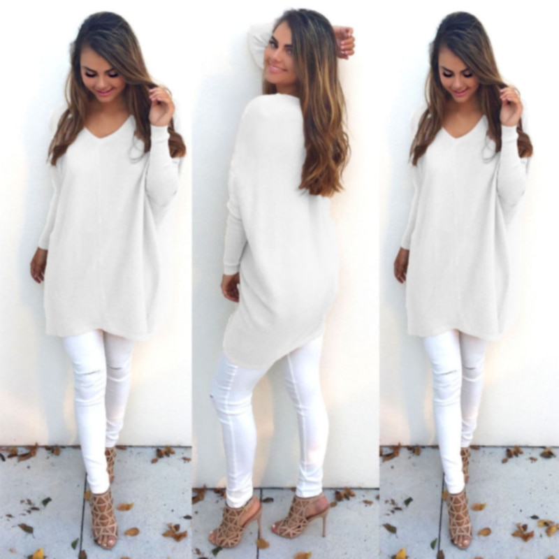 Fashion Sweater Women V Neck Long Sleeve Tunic Pullover Casual Loose Knitted Sweater Autumn Winter Casual Knitwear Oversized