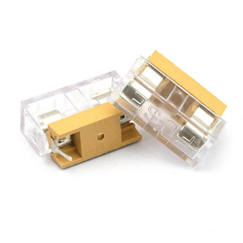 10pcs/lot 5*20mm 5x20mm fuse holder with transparent cover Insurance Tube Socket Fuse Holder Fuse Holders 5X20 Fuse