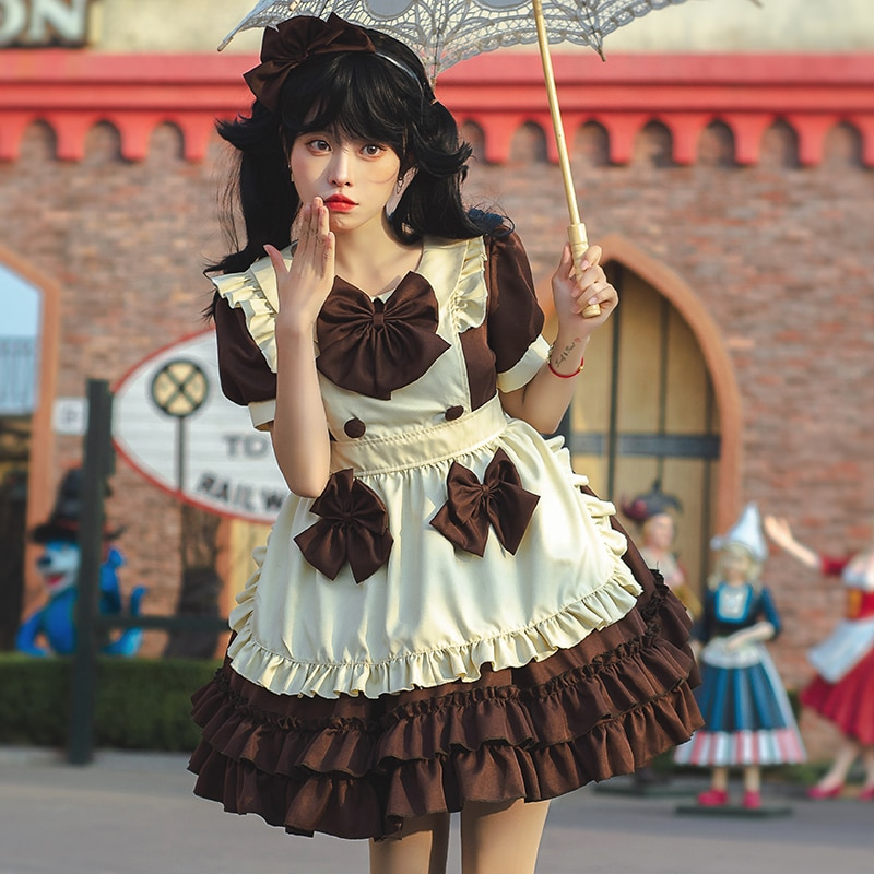 Women Girls JP Anime Kawaii Maid Coffee Lolita Dresses Apron Halloween Cosplay Costume Party Role Play Dress Up Waitress Outfit
