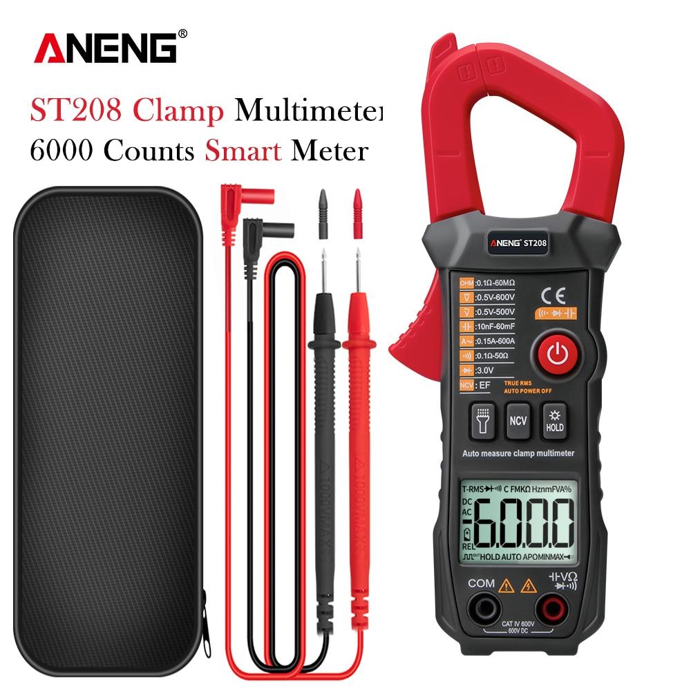 ANENG ST208-مقياس متعدد رقمي ، أداة قياس التيار المتردد/المستمر ، مقياس الترانزستور ، مقياس التيار الكهربائي ، 6000 عد