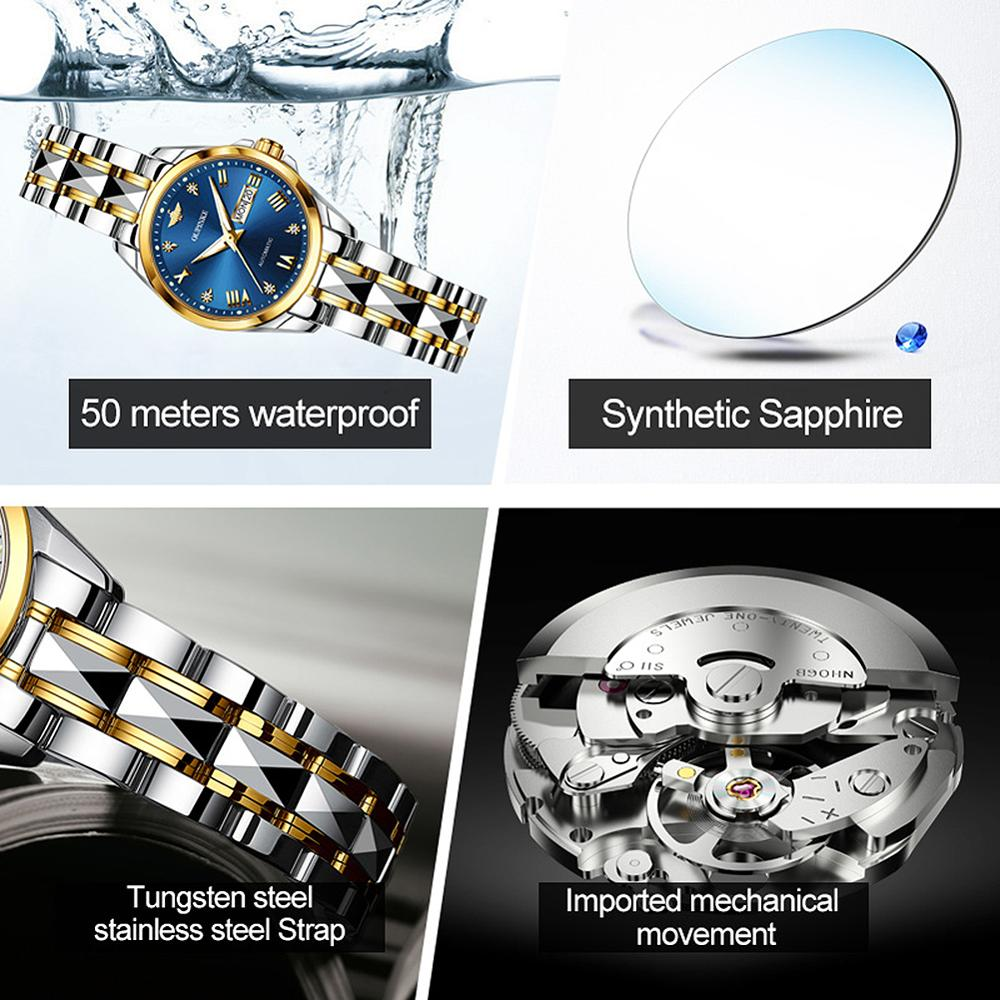 OUPINKE Mechanical Watch Women Switzerland Luxury Brand Ladies Wrist Watch Diamond Scale Tungsten Steel Strap montre femme 2020 enlarge