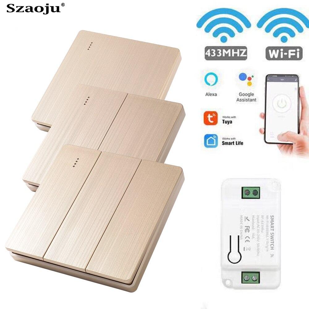 Szaoju Light Smart Life Tuya APP WiFi Push RF Remote Control 433Mhz Wall Switch Relay Timer Module Google Home  Alexa ECHO  220V