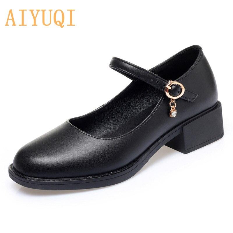 AIYUQI Women's Shoes Genuine Leather 2021 New Mid-heel Mary Jane Shoes Women Shiny Fashion Large Siz