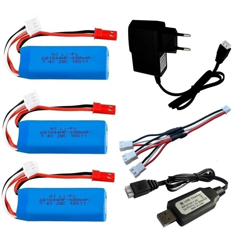 Batería Lipo de 7,4 V, 600mAh para WLtoys K969 K979 K989 K999...