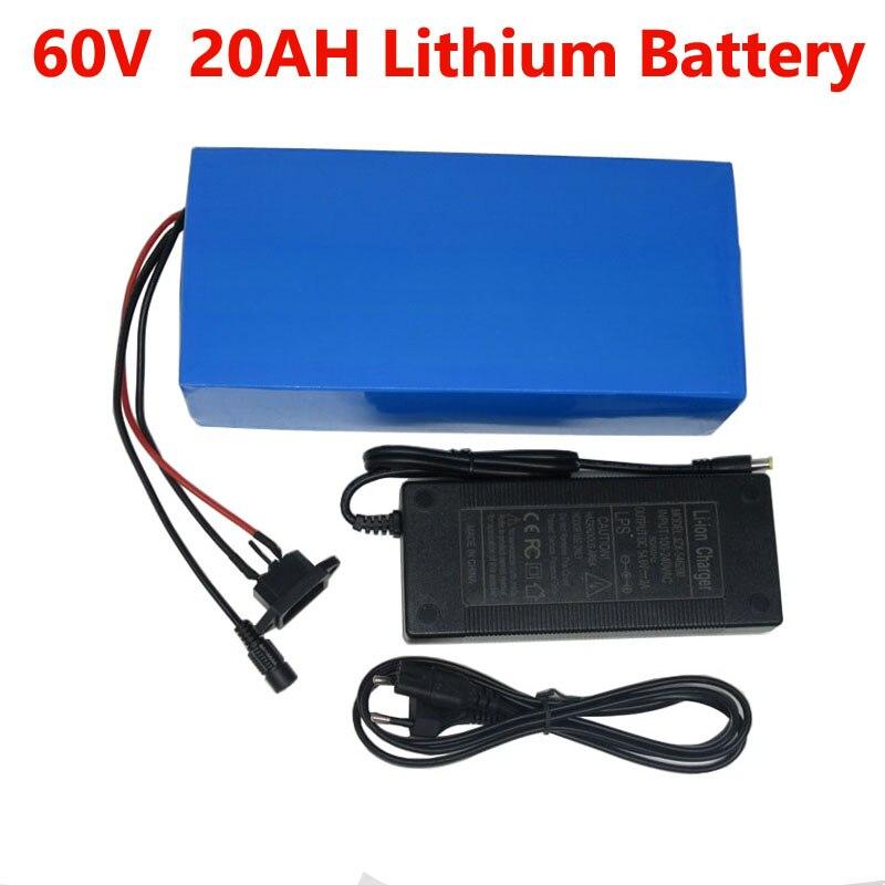 60 v 18ah bateria de íon de lítio ebike 60 v 1500w bateria elétrica bateria bateria de scooter 20ah com 30a bms 2a carregador
