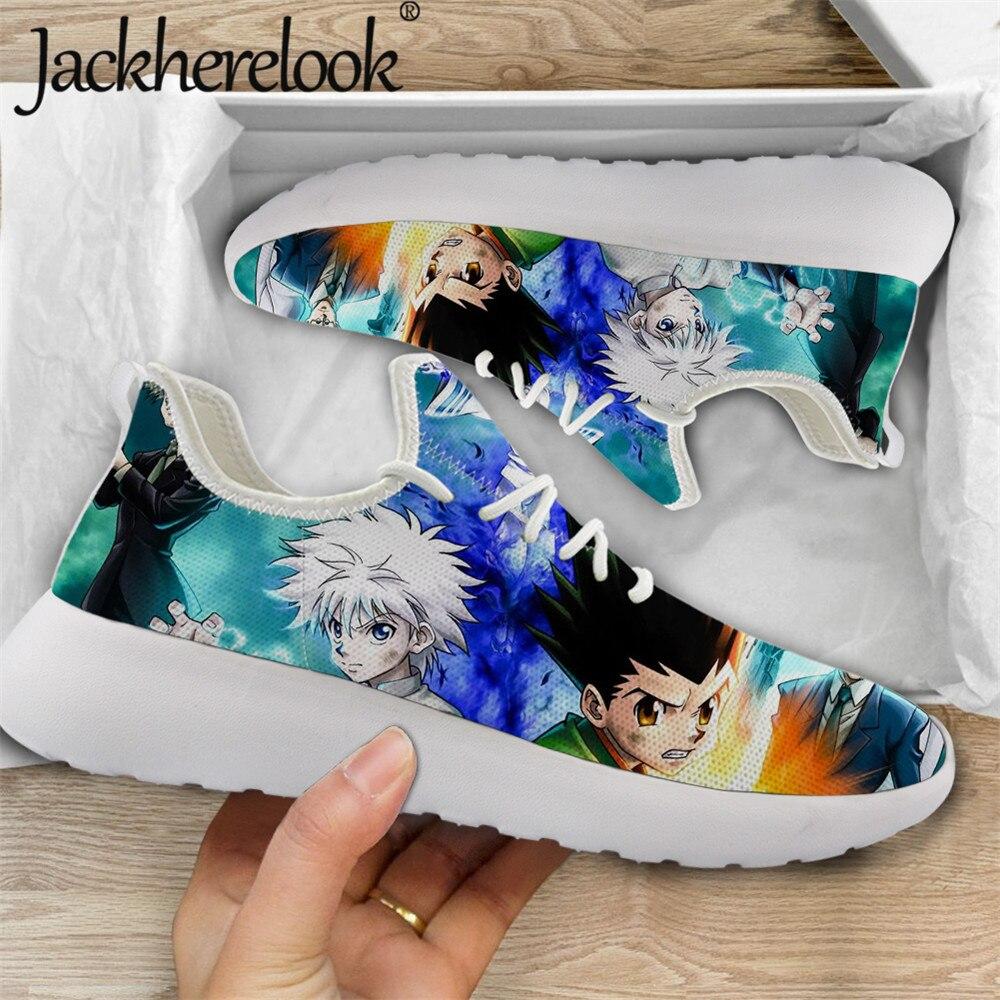 Jackherelook-حذاء Hunter X Hunter للرجال ، حذاء رياضي خفيف الوزن ، نعل مسطح ، مبركن ، حذاء مشي شبكي مسامي ، للخريف
