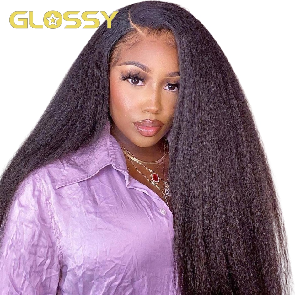Kinky Straight Wig 180% Density Lace Front Human Hair Wigs for Women Yaki Straight 4x4 13x4 Lace Frontal Closure Wig Pre Plucked